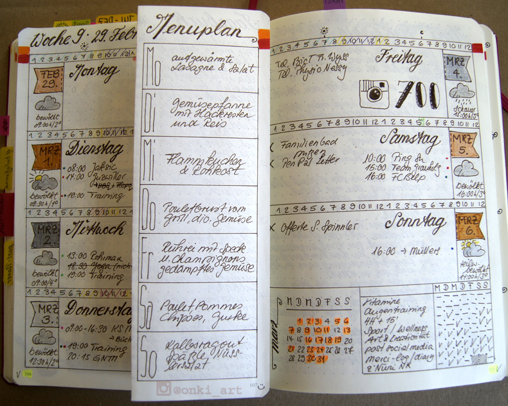 Bullet Journal weekly spread Woche 09