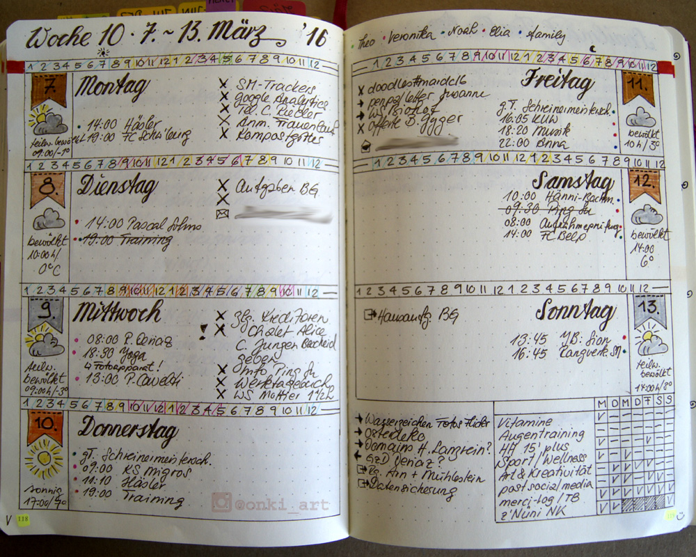Bullet Journal weekly spread Woche 10