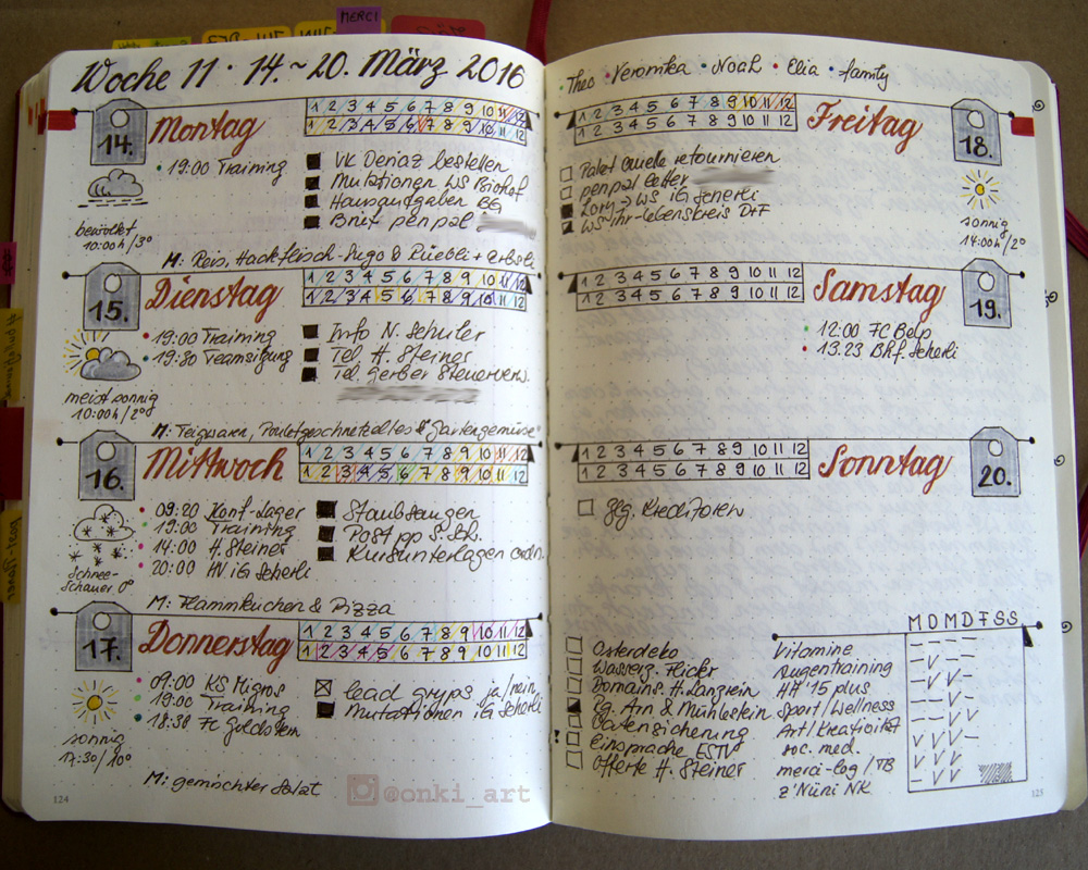 Bullet Journal weekly spread Woche 11